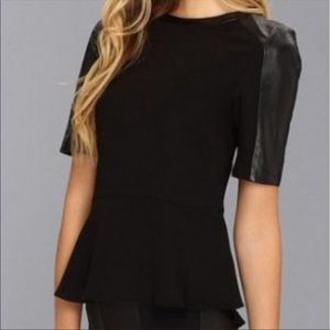 Ted Baker leather peplum top